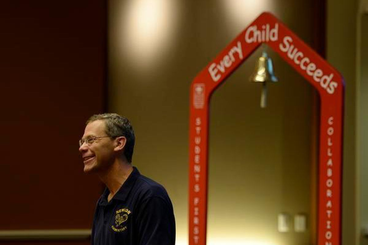 Denver Public School Superintendent Tom Boasberg speaks to faculty during a town hall meeting in Denver on Aug. 20, 2013.