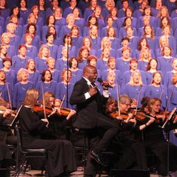 The Mormon Tabernacle Choir performs with Alex Boye, a former choir member and a solo recording artist. Ryan Murphy, associate music director, conducts the choir and Orchestra at Temple Square.