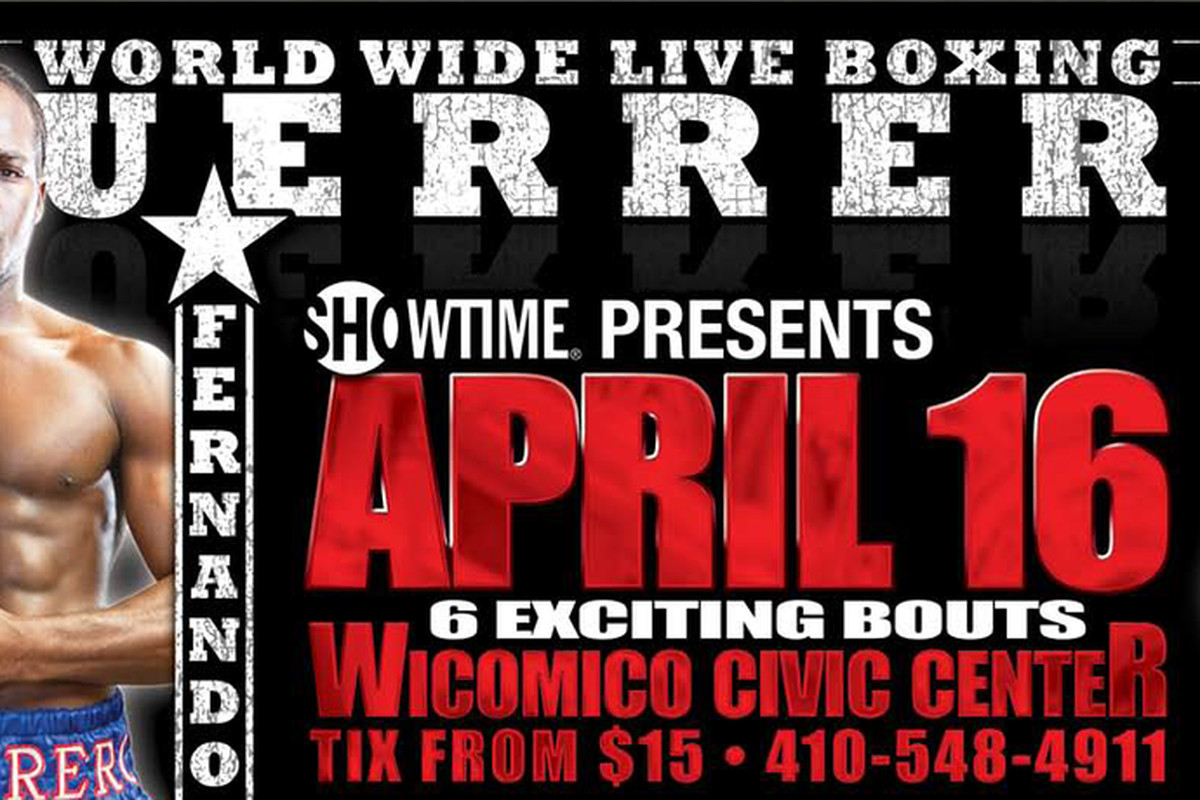 """Fernando Guerrero will be back in action this weekend in his hometown of Salisbury, Maryland.  via <a href=""""http://www.prizefightpromoters.com/images/billboard.png"""">www.prizefightpromoters.com</a>"""