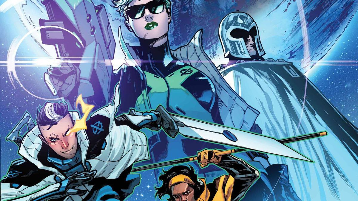 Abigail Brand, Magneto, Cable, Manifold, Whiz Kid, Fabian Cortez, and Frenzy on the cover of SWORD #1, Marvel Comics (2020).