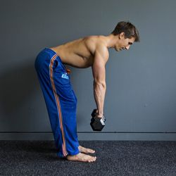 <b>Shoulder Fly</b><br> This is a great move to work away any pesky bulges around your back.<br> Step 1: Grip the dumbbells so that your palms are facing your body. Hinge at the hips while holding your dumbbells.