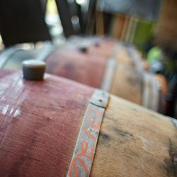 wine barrels containing wine that will be eventually be sold at the winery.