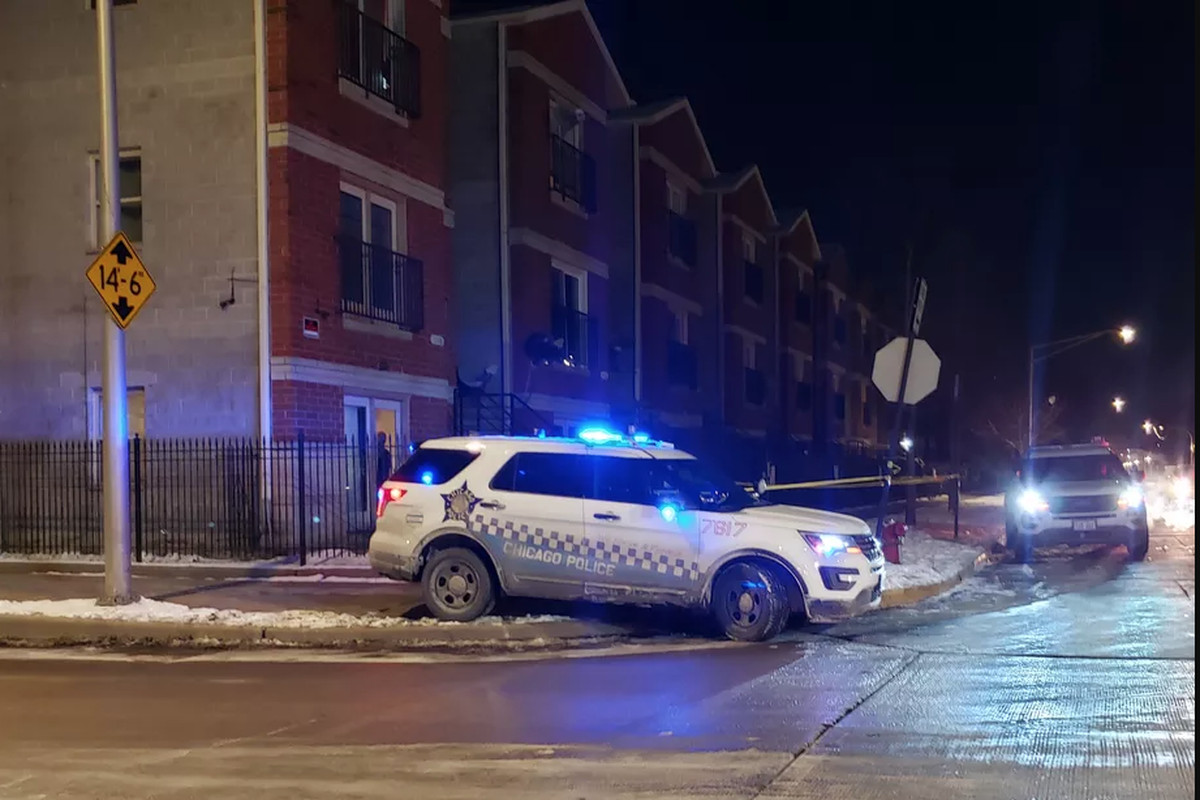 Chicago Police outside an apartment where an 11-year-old boy was accidentally shot Feb. 14, 2020, by his younger sister in Lawndale.