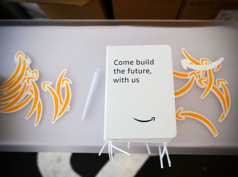 Promotional material at an Amazon Career Day event.