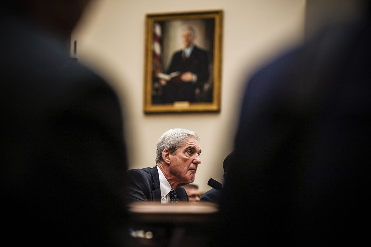Former special counsel Robert Mueller testifies before the House Committee on Intelligence on Wednesday, July 24, 2019.