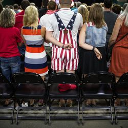 People attend a rally for Republican presidential candidate Donald Trump in Kissimmee, Fla., on Thursday, Aug. 11, 2016.