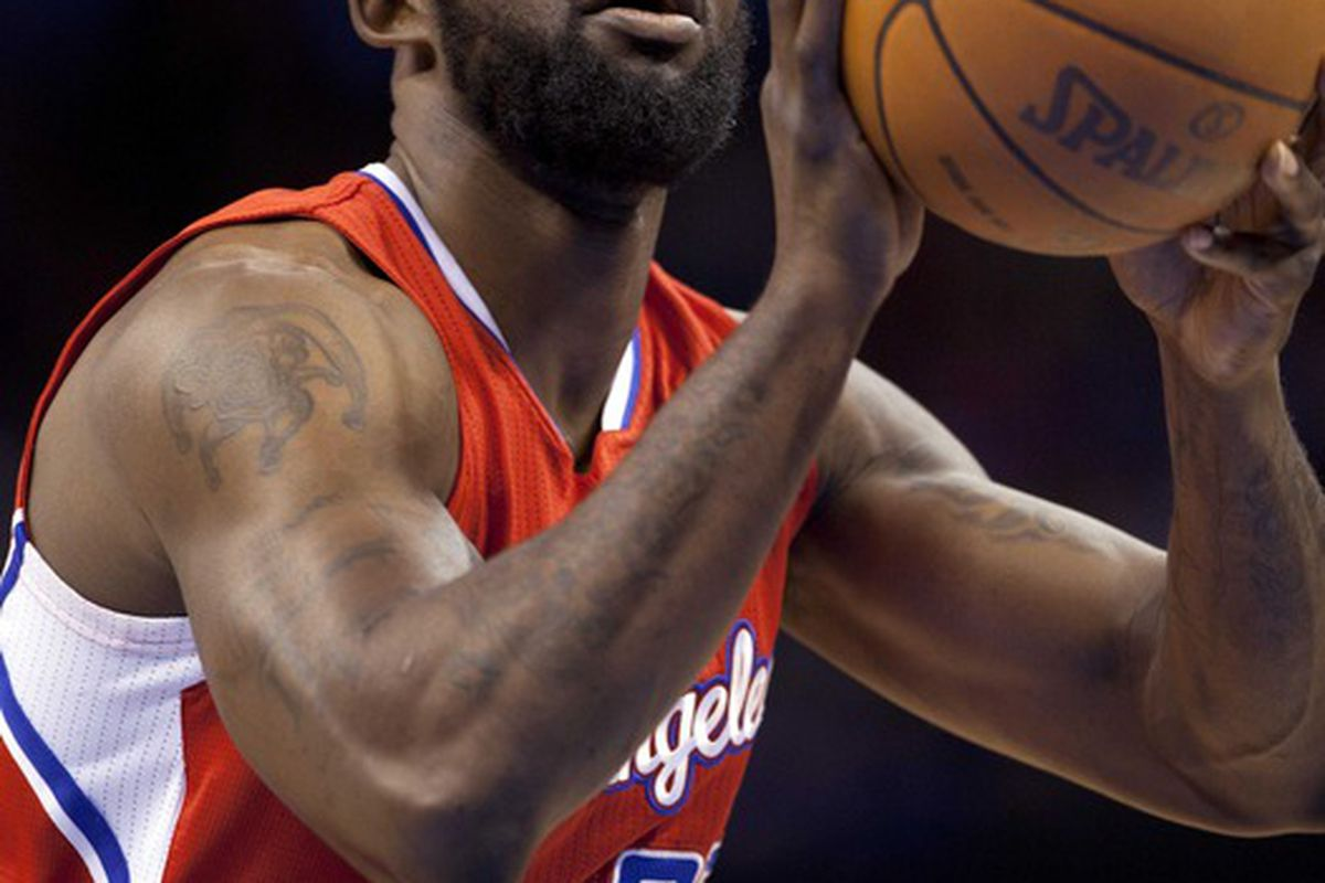 Mar, 21, 2012; Oklahoma City  OK, USA; Los Angeles Clippers power forward Reggie Evans (30) shoots a free throw during the fourth quarter against Oklahoma City Thunder at Chesapeake Energy Arena Mandatory Credit: Richard Rowe-US PRESSWIRE