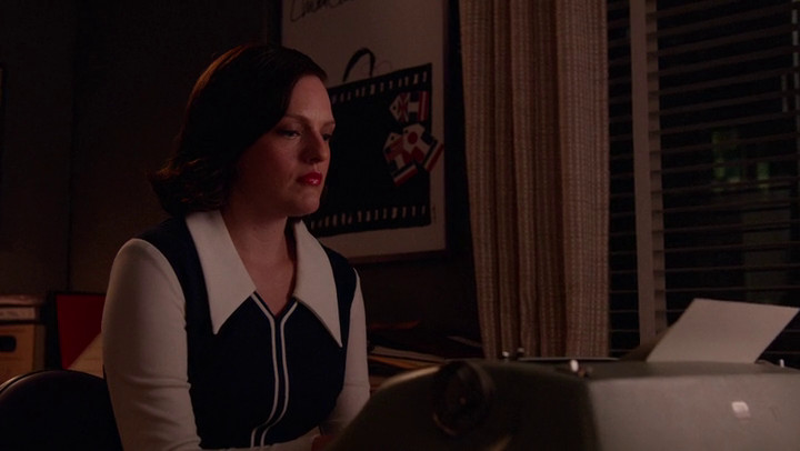 Peggy types something on Mad Men.