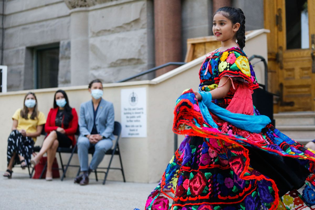 Mili Silos, 11, performs a traditional ballet folklorico during a celebration to mark the start of Hispanic Heritage Month.