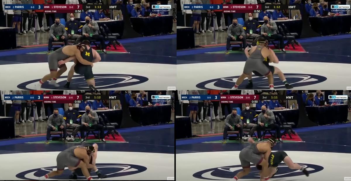 Gable Steveson scrambles with Mason Parris