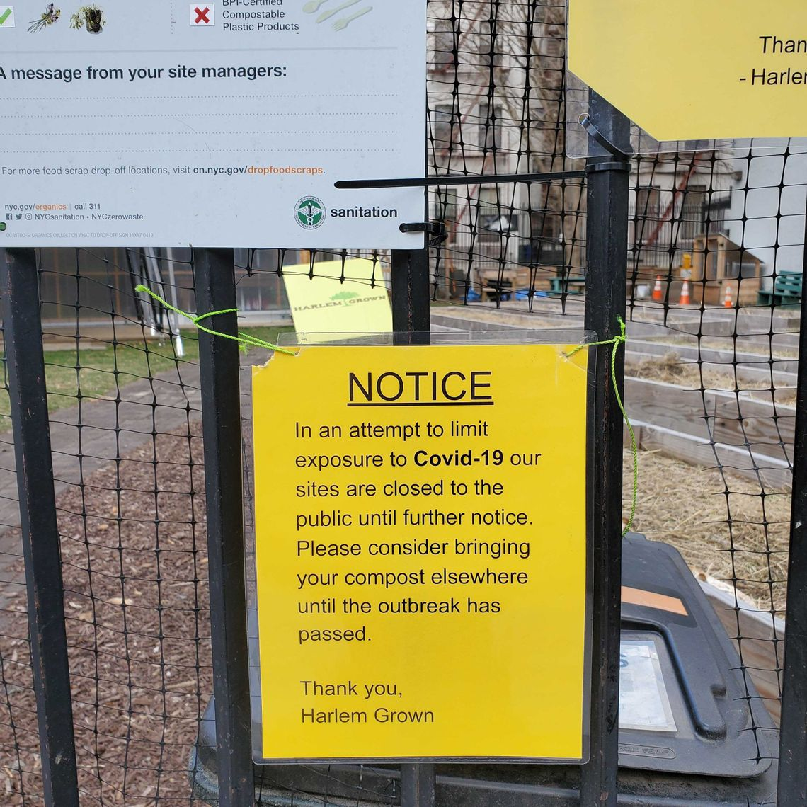 A Harlem urban farm lets community members know they can't provide services while the coronavirus spreads.