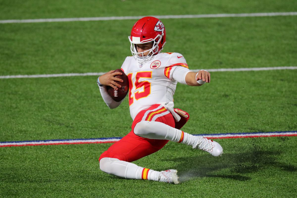 Patrick Mahomes #15 of the Kansas City Chiefs slides for a first down during the second half against the Buffalo Bills at Bills Stadium on October 19, 2020 in Orchard Park, New York.