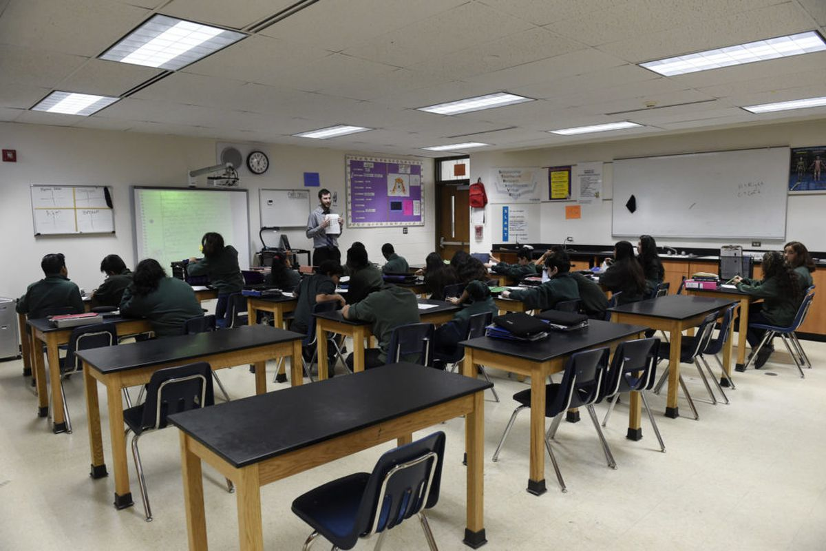 A seventh-grade biology class at the Montbello campus in Denver in 2017.