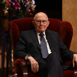 President Dallin H. Oaks, first counselor in the First Presidency, is seated in the Conference Center Theater during the Sunday afternoon session of the 190th Semiannual General Conference of The Church of Jesus Christ of Latter-day Saints on Oct. 4, 2020.