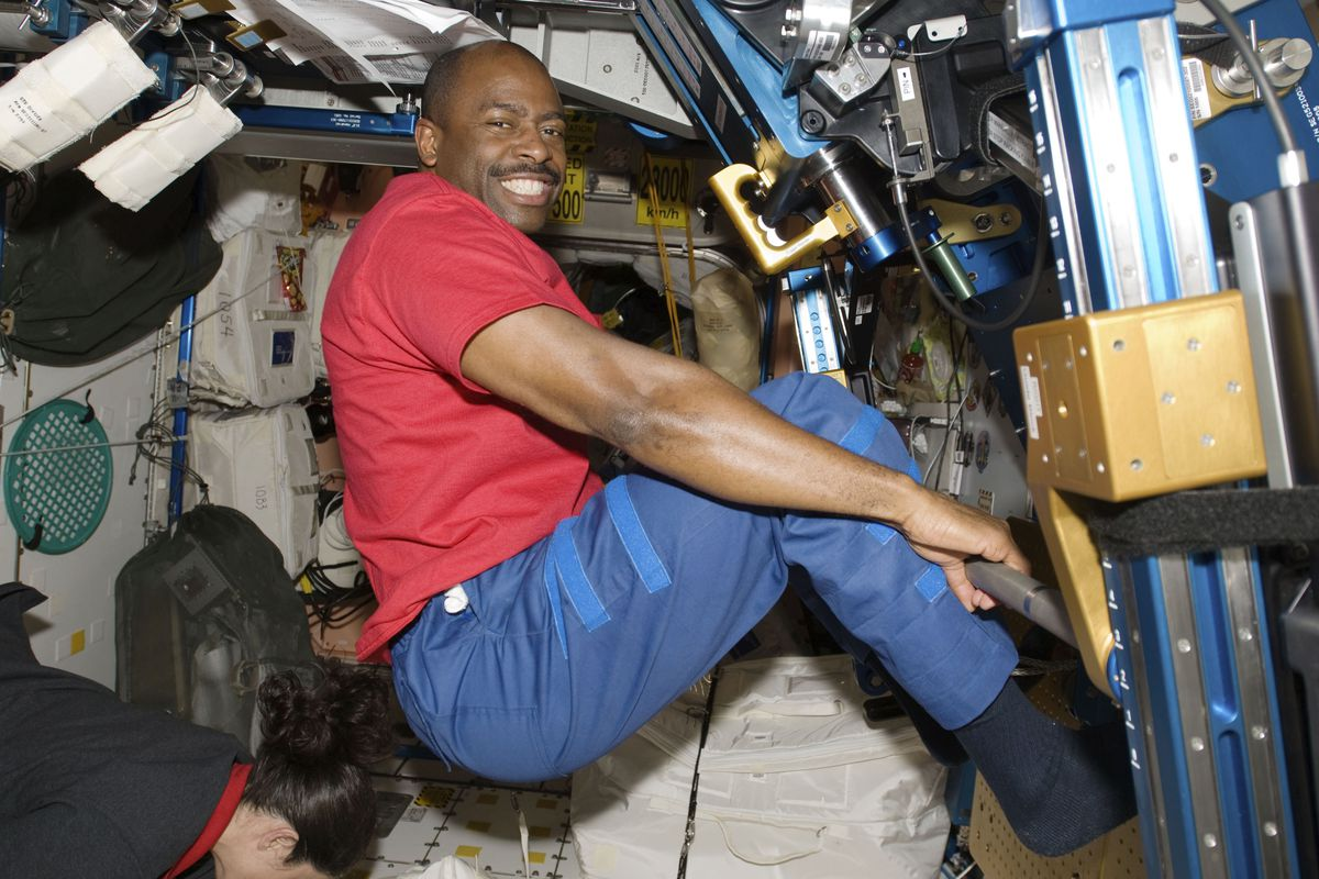 Then-astronaut Leland Melvin, seen exercising in the Unity module of the International Space Station in 2009 while the space shuttle Atlantis was docked with the station. Space station astronauts exercise two hours every day to counter the muscle- and bone-withering effects of weightlessness, leaving their workout clothes sweaty, smelly and stiff. Their T-shirts, shorts and socks end up so foul that they run through a pair every week, according to Melvin, a former NASA astronaut and NFL player.