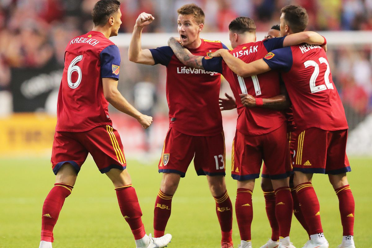 Real Salt Lake midfielder Damir Kreilach (6) celebrates with teammates after scoring RSL's first goal of the first half as Real Salt Lake and the Colorado Rapids play at Rio Tinto Stadium in Sandy on Saturday, July 21, 2018.