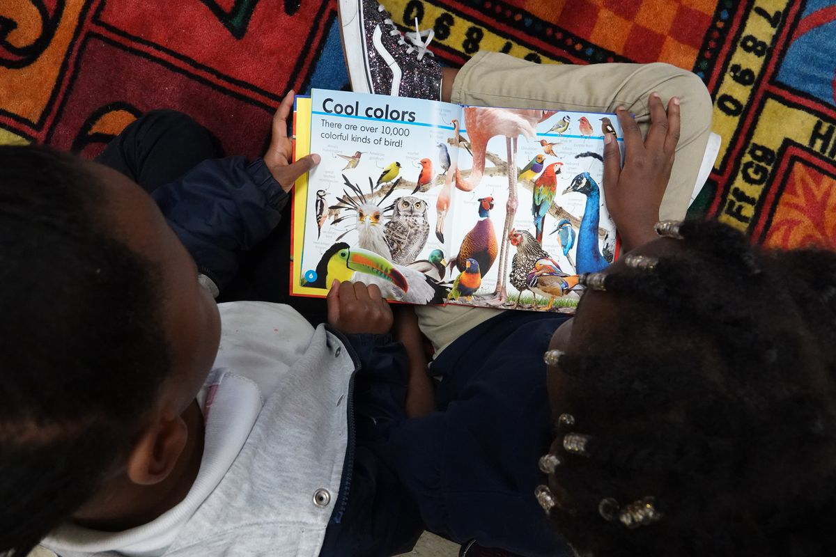 Students read a book during a reading circle in May at Gardenview Elementary School in Memphis.