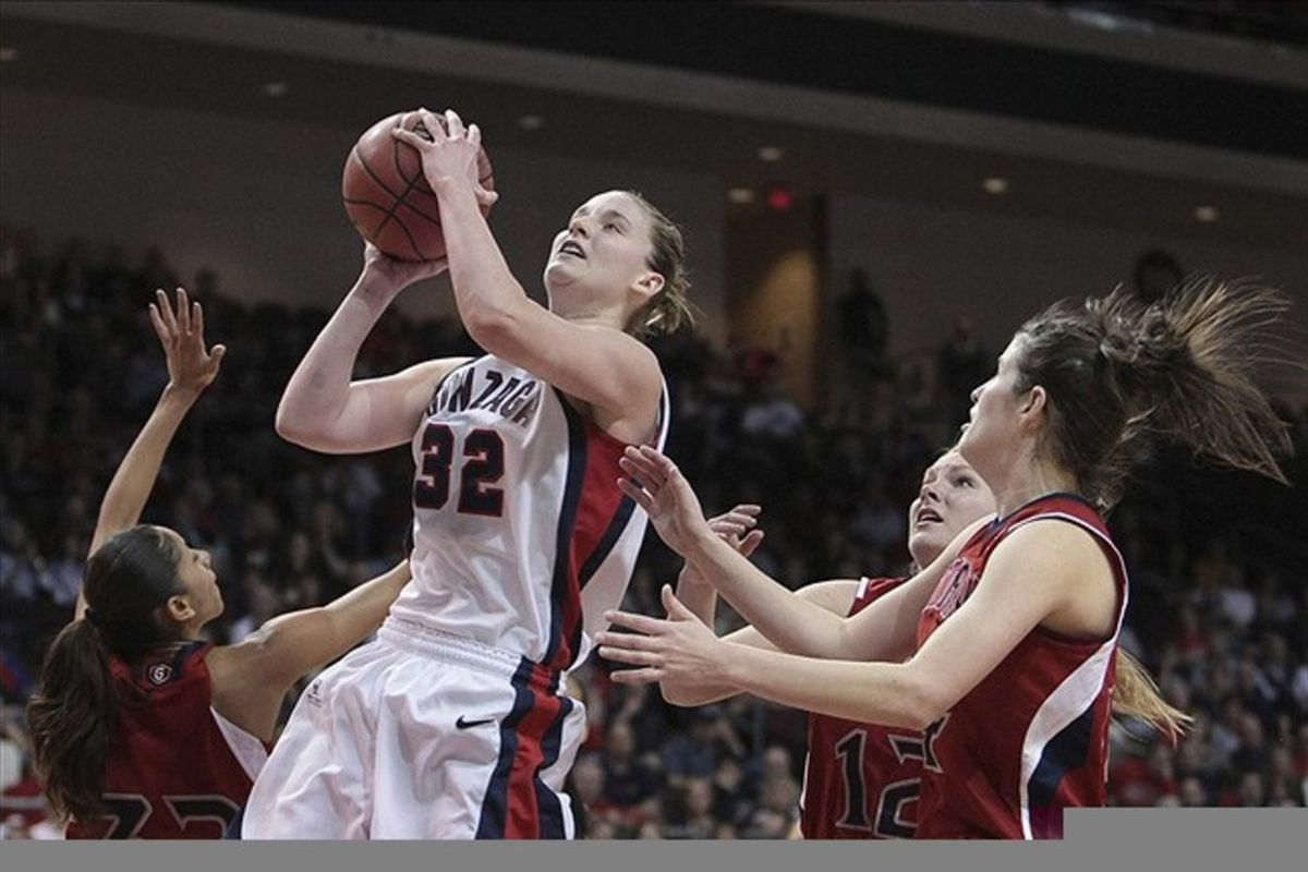 Gonzaga's Kayla Standish is one of a few 2012 WNBA Draft prospects who experienced a significant decline statistically in her senior year, but there's an obvious explanation for that which pro teams might consider.  <em>Kelley L Cox-US PRESSWIRE</em>