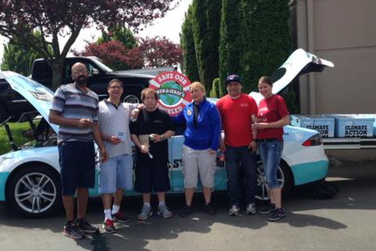 Ben & Jerry's Save Our Swirled Tesla at Seattle's Car Toys yesterday