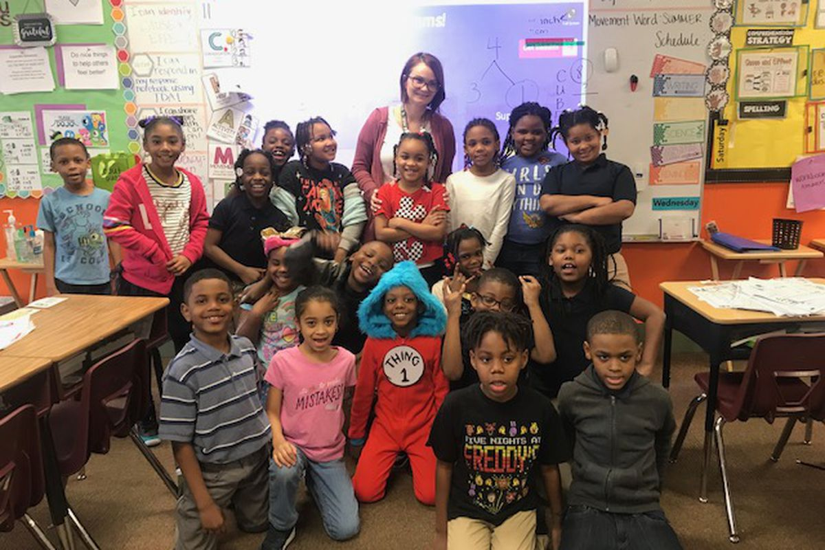 Megan Polson with her students at Legacy Charter Academy.