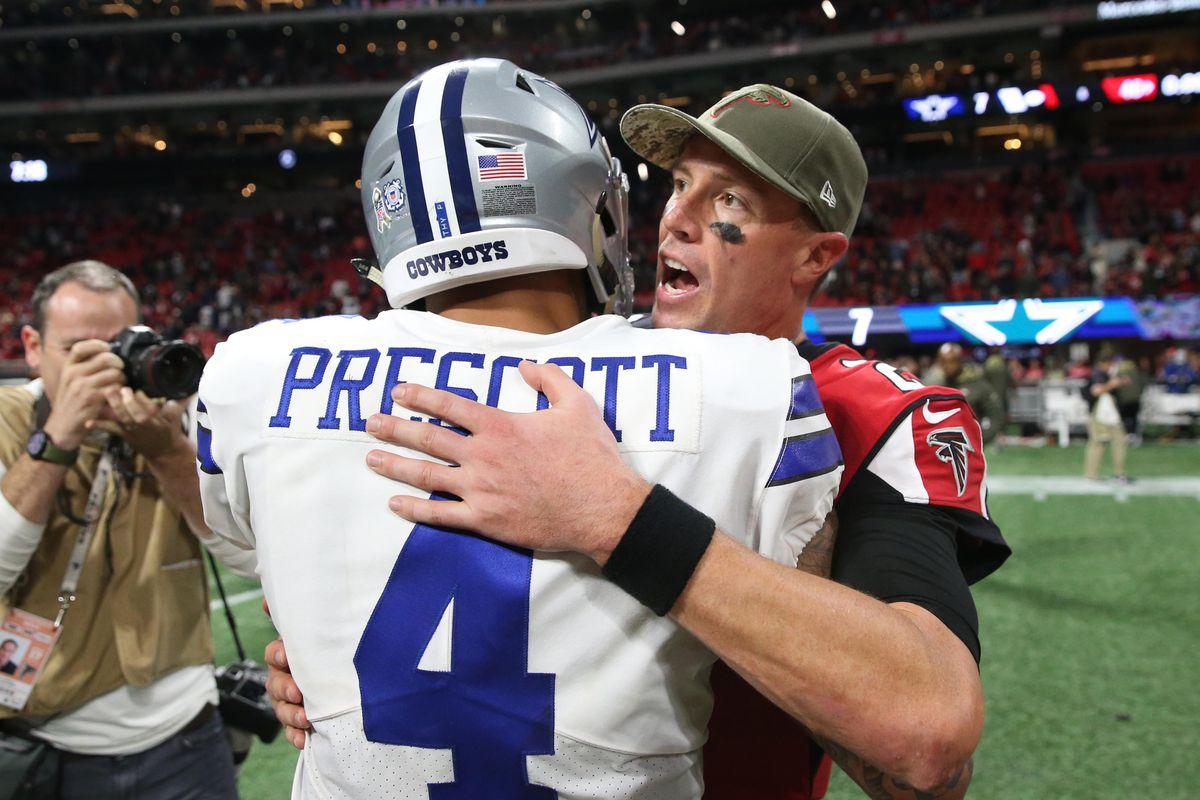 Atlanta Falcons quarterback Matt Ryan greets Dallas Cowboys quarterback Dak Prescott after their game at Mercedes-Benz Stadium.