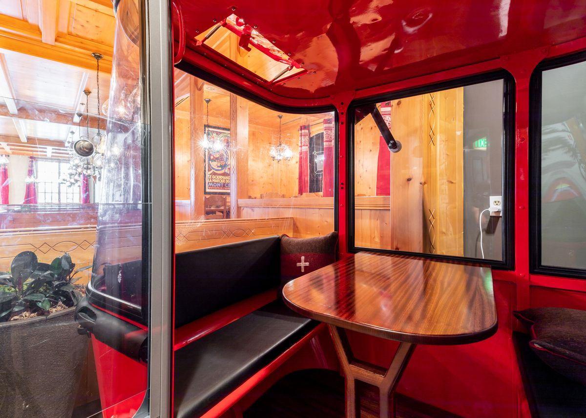 the inside of a gondola with a table