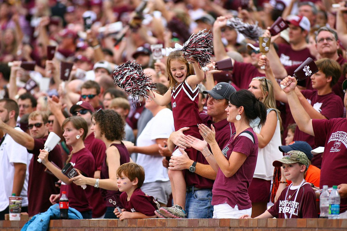 Sept 8, 2012; Starkville, MS, USA;   Mississippi State Bulldogs fans celebrate during the game against the Auburn Tigers at Davis Wade Stadium.  Mississippi State Bulldogs defeated the Auburn Tigers 28-10.  Mandatory Credit: Spruce Derden