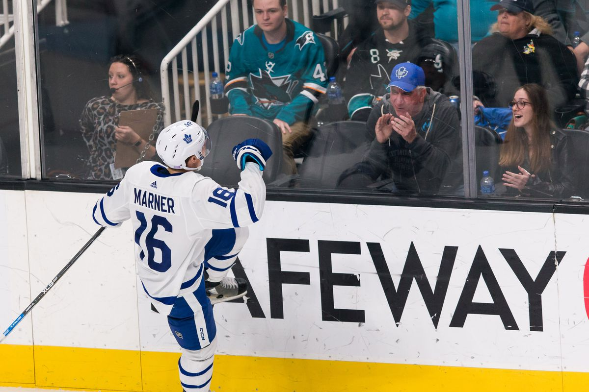 Nov 15, 2018; San Jose, CA, USA; Toronto Maple Leafs right wing Mitchell Marner (16) celebrates after scoring a goal against the San Jose Sharks in the third period at SAP Center at San Jose.