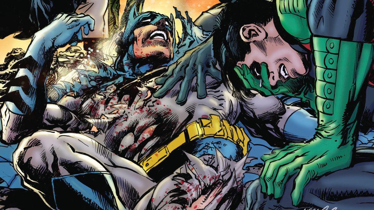 Robin weeps over Batman's torn and broken body on the cover of Batman vs. Ra's Al Ghul #1, DC Comics (2019).