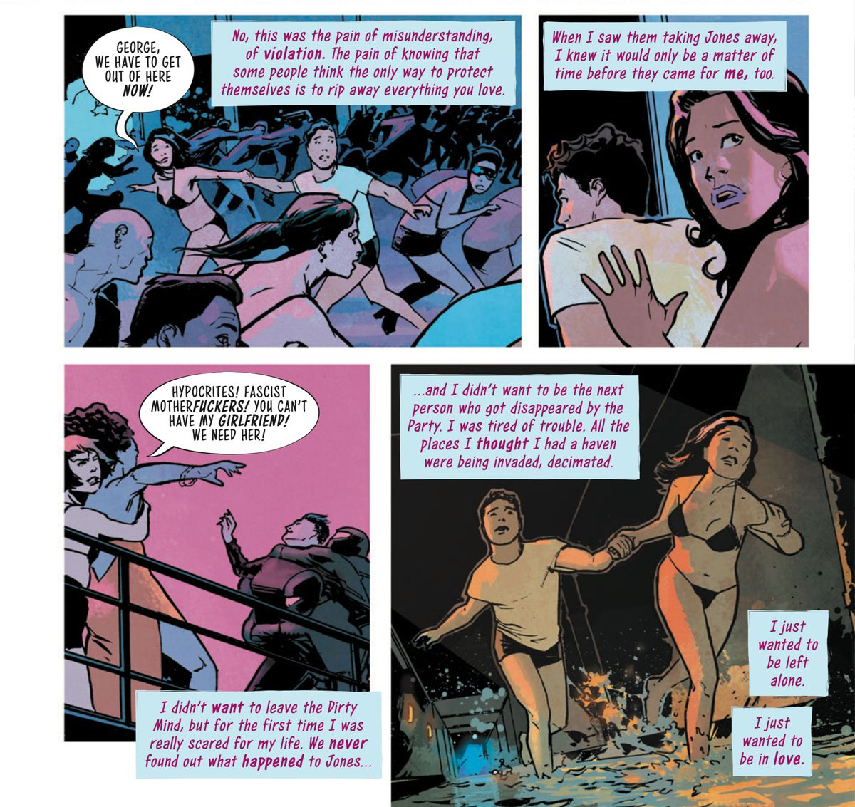 As Avery and her boyfriend George run through the underground sex club Dirty Mind, fleeing from fascist cops, all she can think of is how scared she is and how much she wants to be safe, in Safe Sex #1, Image Comics (2019).