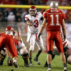 Quarterback Brian Johnson directs traffic before the ball is snapped during Utah's 13-10 win over New Mexico in Albuquerque. The victory improved the Utes to 9-0 for the second time in school history.