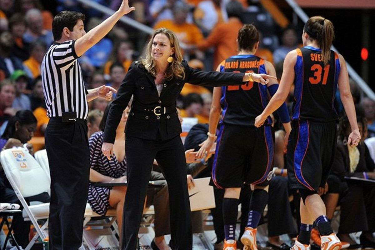 Florida Gators head coach Amanda Butler will need to figure out a way to solve the Kentucky Wildcats' press in order to advance in the 2012 SEC tournament. <em>Randy Sartin-US PRESSWIRE</em>