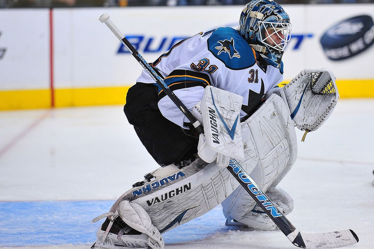 April 5, 2012; Los Angeles, CA, USA; San Jose Sharks goalie Antti Niemi (31) defends the goal against the Los Angeles Kings during the third period at Staples Center. Mandatory Credit: Gary A. Vasquez-US PRESSWIRE