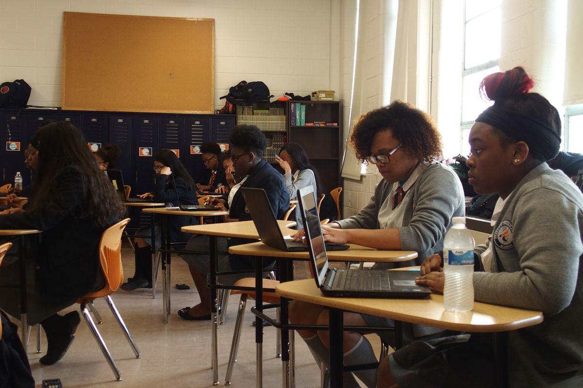 Students at Freedom Preparatory Academy's high school prepare to take their TNReady geometry test.