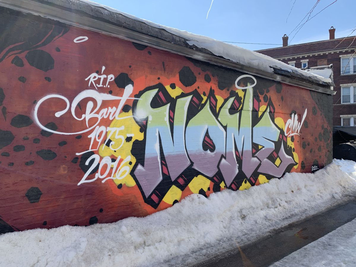 Won Kim, who's Kimski's head chef as well as a partner in the restaurant at 960 W. 31st St., occasionally will paint a wall himself, using the name Revise CMW. This one is a tribute to a graffiti crew member named Bart, who died last year.