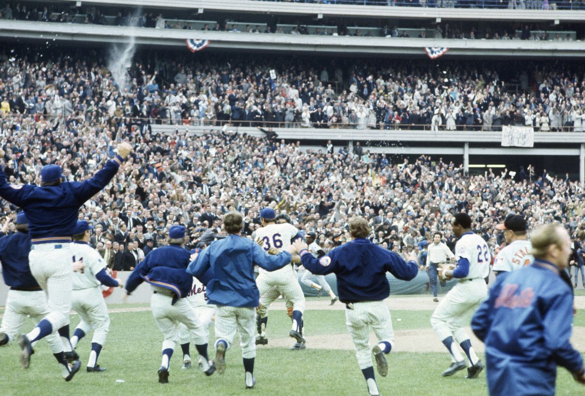 65bc1175 The Mets defeat the Baltimore Orioles in the 1969 World Series at Shea  Stadium. Focus on Sport/Getty Images