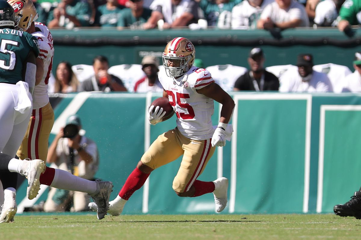 Elijah Mitchell #25 of the San Francisco 49ers rushes during the game against the Philadelphia Eagles at Lincoln Financial Field on September 19, 2021 in Philadelphia, Pennsylvania.