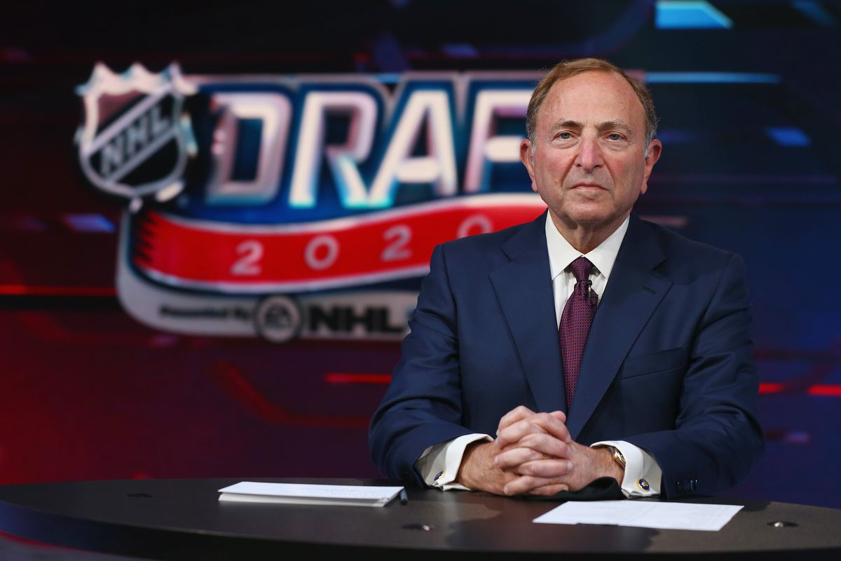 SECAUCUS, NEW JERSEY - OCTOBER 06: NHL commissioner Gary Bettman prepares for the first round of the 2020 National Hockey League Draft at the NHL Network Studio on October 06, 2020 in Secaucus, New Jersey.