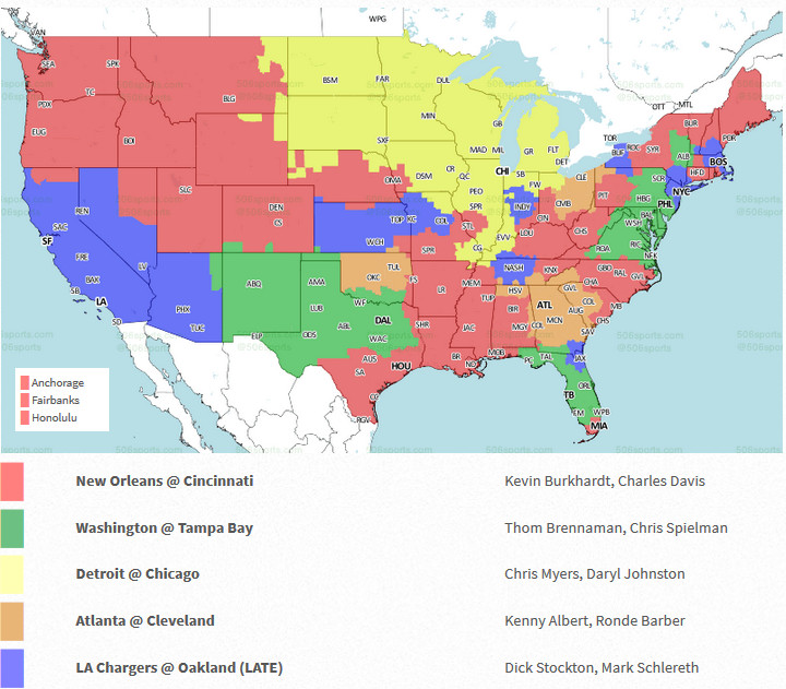 The areas in orange will air the game on TV  Columbus surprisingly gets the  Browns despite a much more higher profile game between the Saints and  Bengals ... cc969bd2a