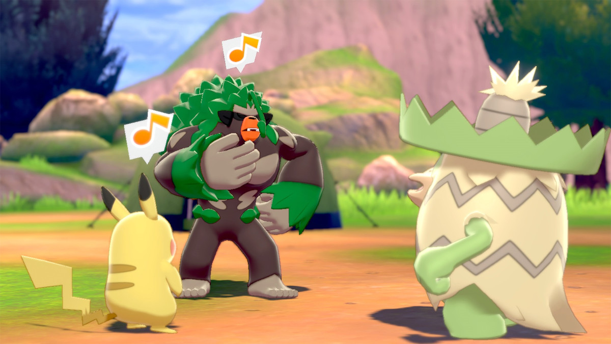 the pokemon gang hanging out and singing