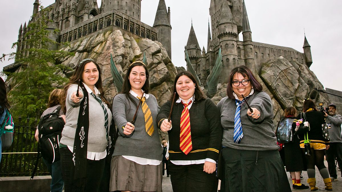 """Dressed-up fans at the 2016 opening of """"The Wizarding World Of Harry Potter"""" at Universal Studios Hollywood."""