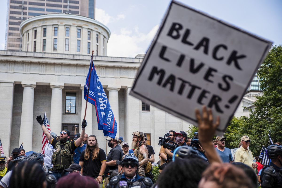 Anti-Mask protesters collide with Black Lives Matter counter...