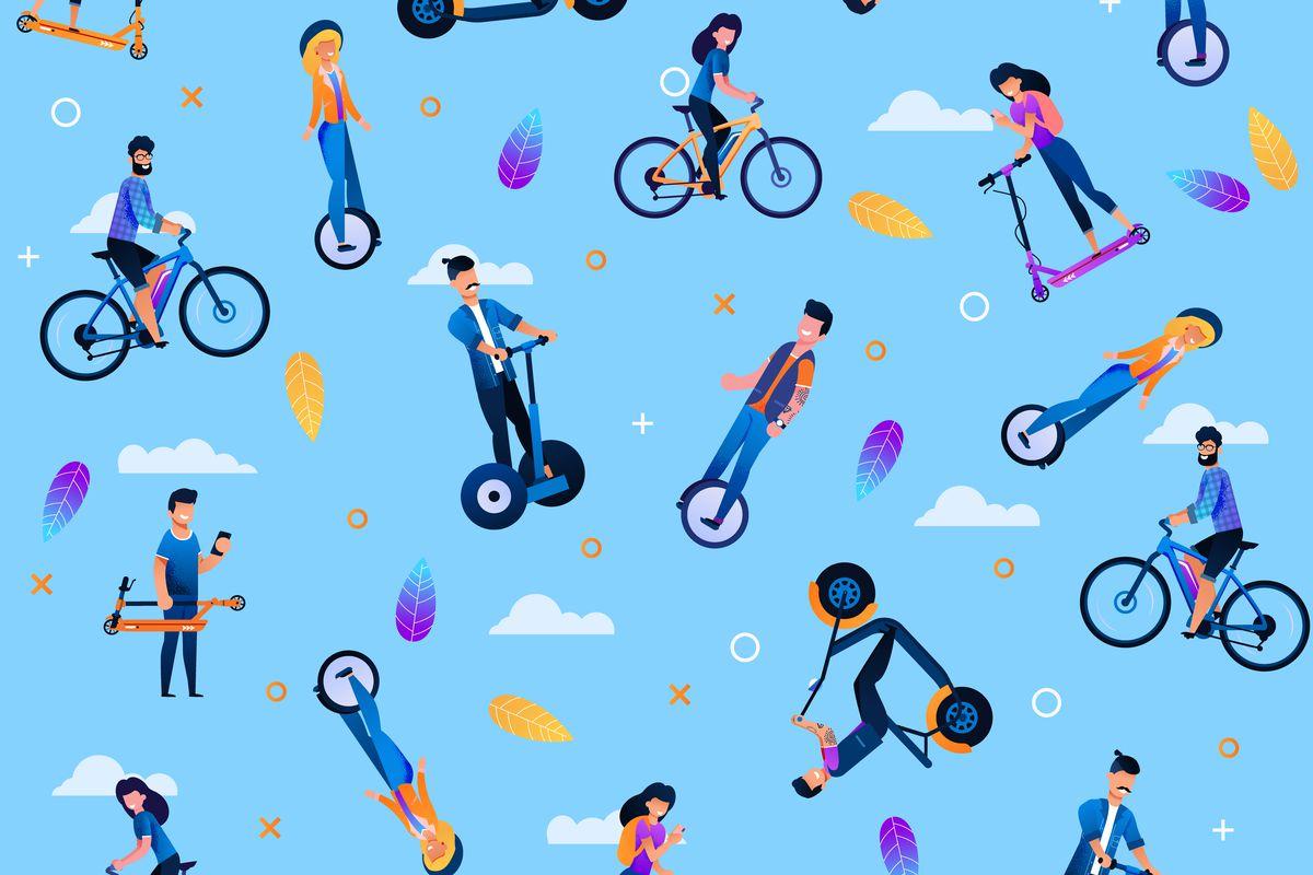 illustration of various people having fun on various vehicles