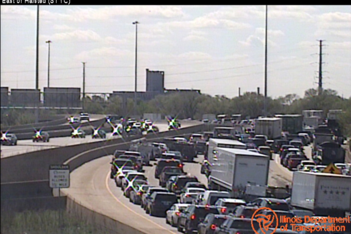 A traffic camera shows traffic on the outbound Stevenson Expressway near a crash Wednesday at Damen Avenue.