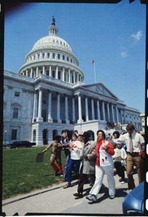 The Marching Mothers of Michigan march in front of the U.S. Capitol April 27, 1972, in opposition to busing for desegregation.