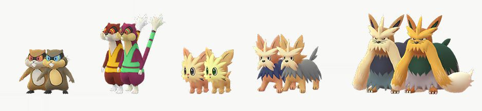 Shiny Patrat, Watchhog, Lillipup, Herdier, and Stoutland stand in comparison to their regular forms in Pokémon Go