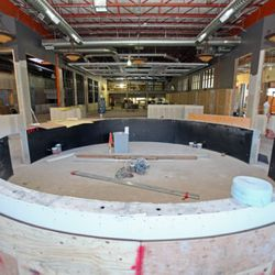 This is the main bar view towards back. A six-lane bowling alley will span behind the bar.