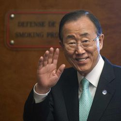 United Nations Secretary-General Ban Ki-moon waves prior to a press conference about the situation in Syria at the European headquarters of the United Nations in Geneva, Switzerland, Thursday, April 12, 2012.