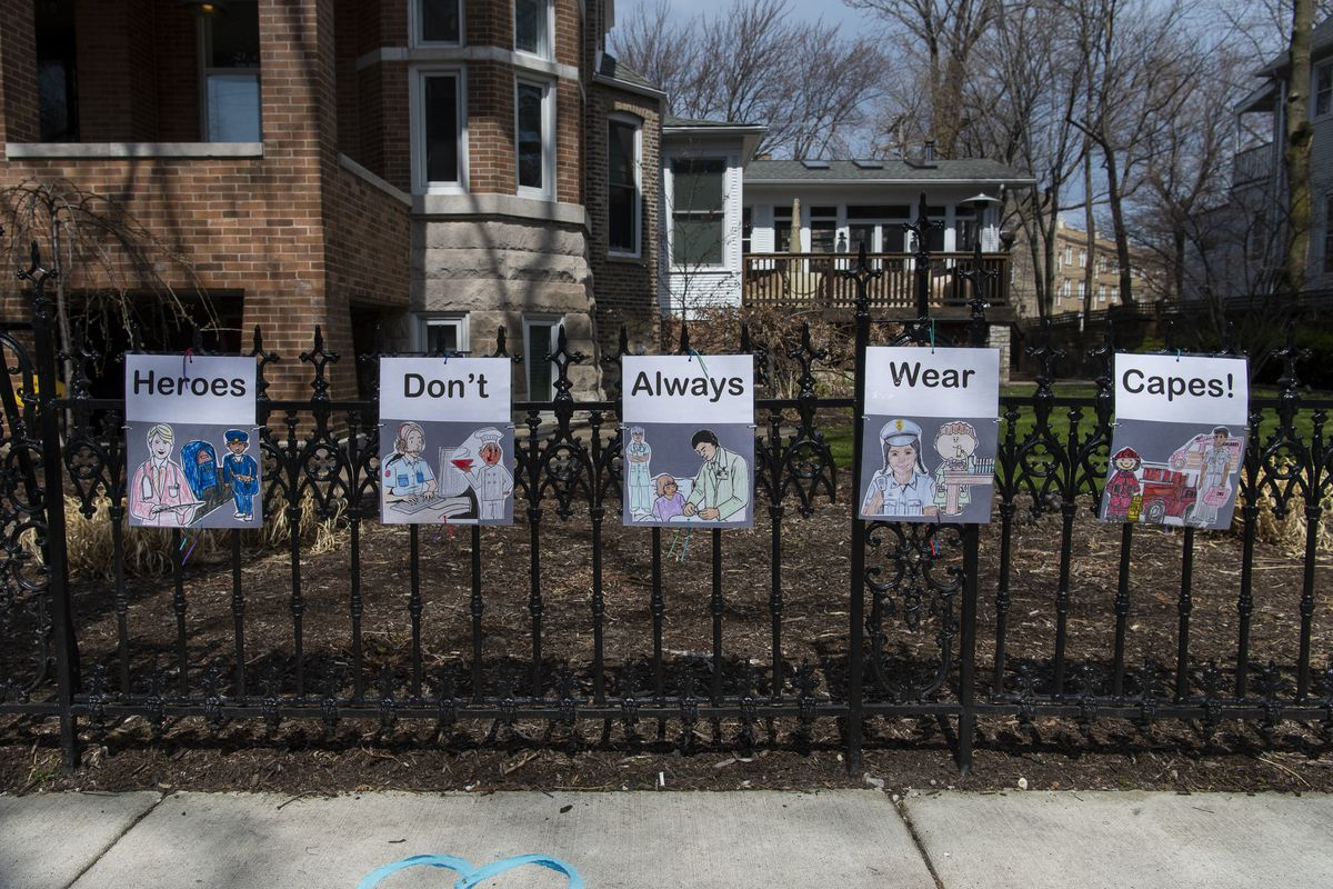This message on the fence of a home in the 1300 block of West Bryn Mawr Avenue in Edgewater offers thanks to those who are working on the front lines of the coronavirus pandemic,
