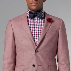 """<a href=""""http://www.indochino.com/product/the-ultimate-cardinal-stone-microdesign-blazer"""">Cardinal and Stone Micro-Design Blazer</a>, $329;  <a href=""""http://www.indochino.com/product/the-ultimate-navy-red-gingham-shirt"""">Navy and Red Gingham Shirt</a>, $99"""